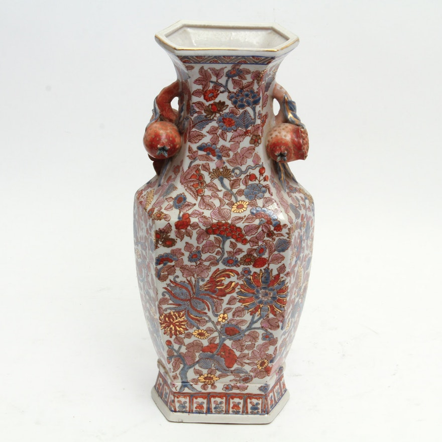 Chinese Porcelain Vase With Figural Pomegranate Handles Ebth