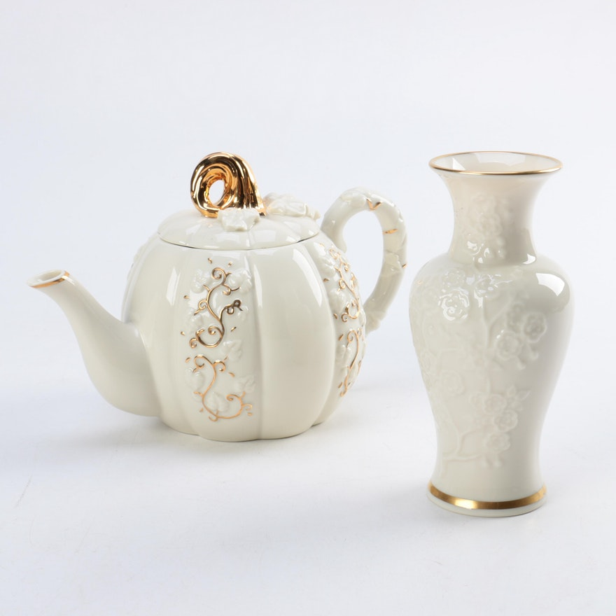 Lenox Vase And Pumpkin Teapot Ebth