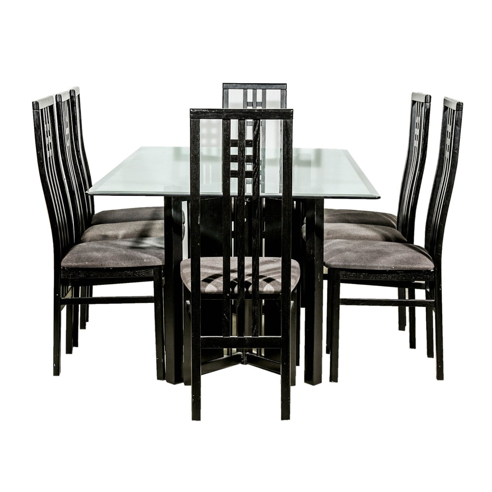 Modernist Glass Topped Dining Table With Eight Side Chairs By IMS SRL Italy  | EBTH