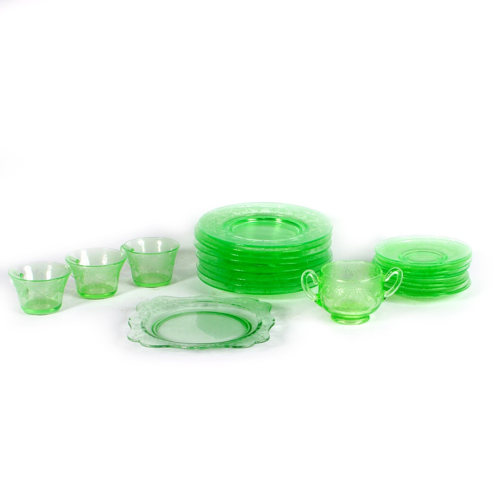 Collection of Green Cambridge Depression Glass