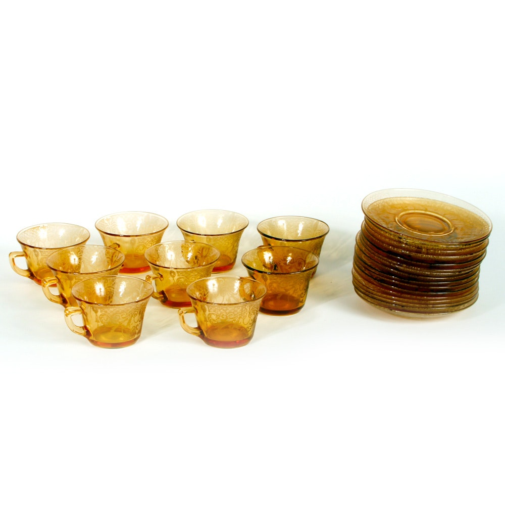 Amber Depression Glass Teacups and Saucers