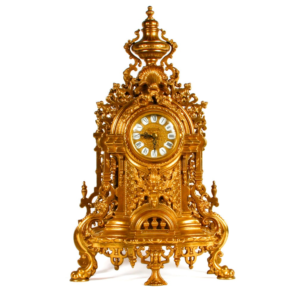 Imperial Rococo Style Brass Mantel Clock