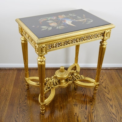 Louis XVI Style Pietra Dura Bird Gilt Wood Side Table, Circa 1920s