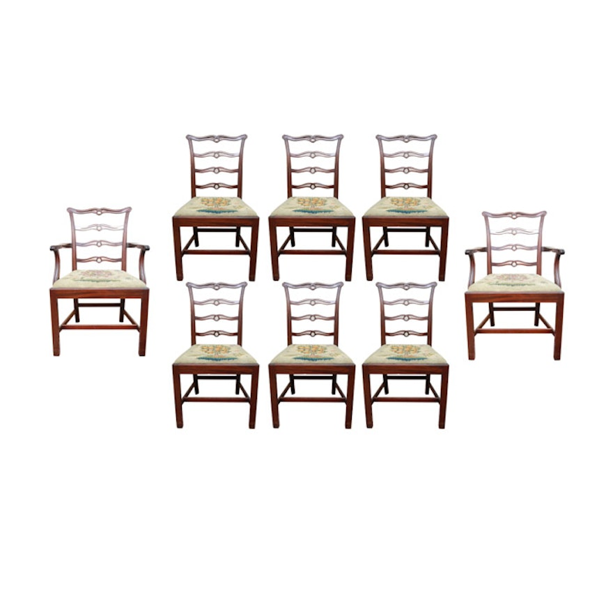 Cool Vintage Chippendale Style Ribbon Back Dining Chairs With Needlepoint Seats Short Links Chair Design For Home Short Linksinfo