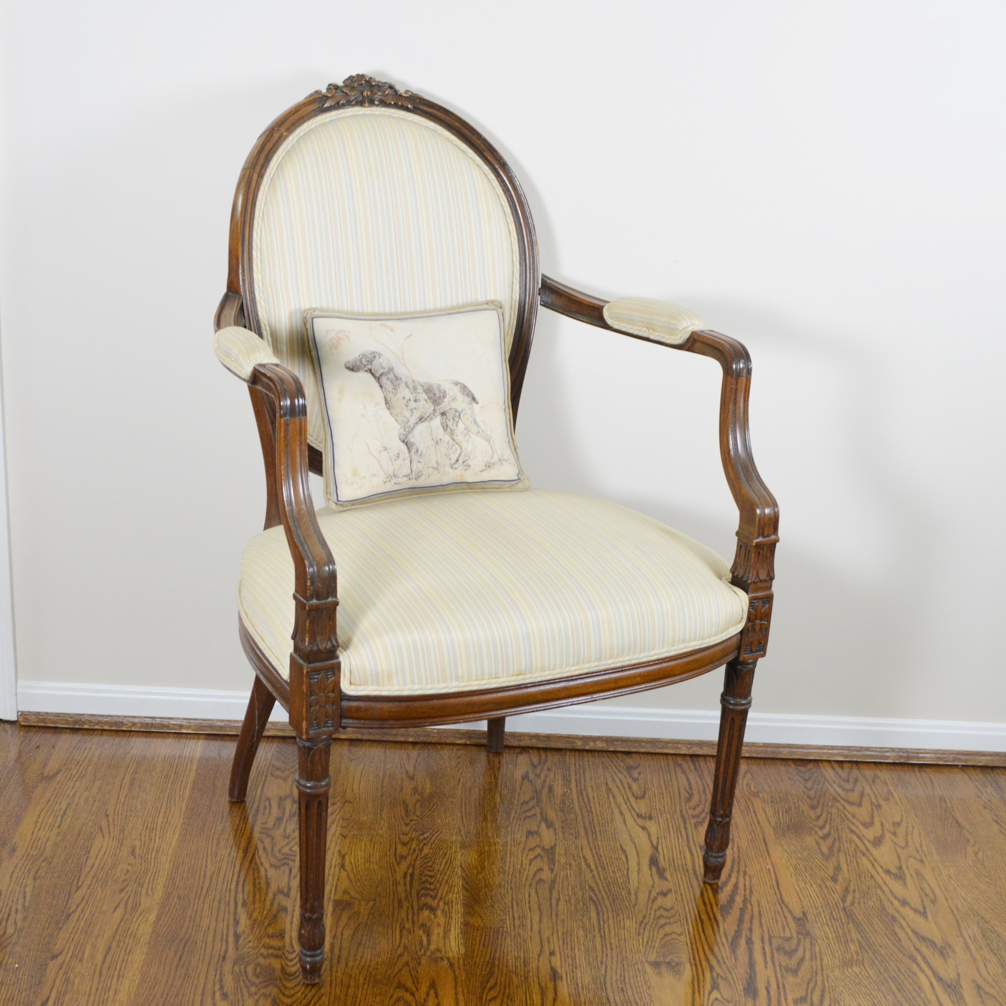 Vintage Louis XVI Style Medallion Back Upholstered Armchair