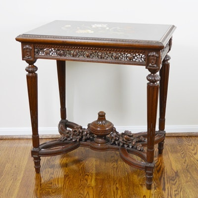 Louis XVI Style Pietra Dura Floral Walnut Side Table, Circa 1920s