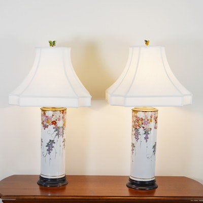 Chinoiserie Style Enamel Painted Porcelain Table Lamps