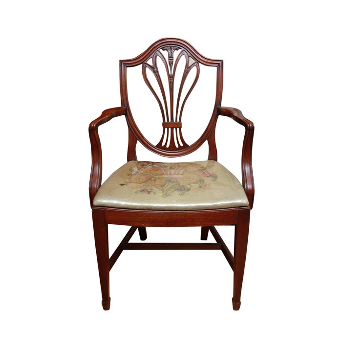 Vintage Hepplewhite Style Shield-Back Armchair