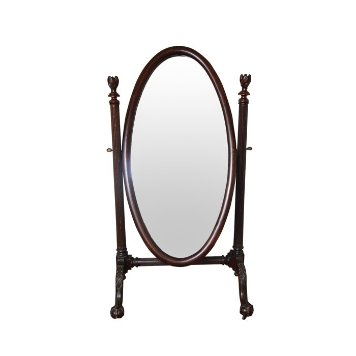 Vintage Chippendale Style Mahogany Cheval Mirror