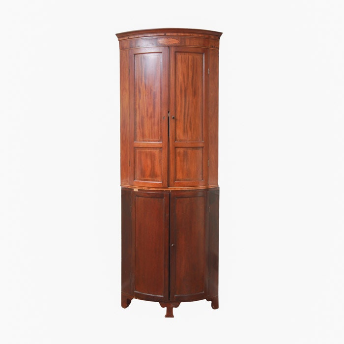 how many members are in the cabinet vintage mahogany two part corner cabinet with inlay ebth 16692