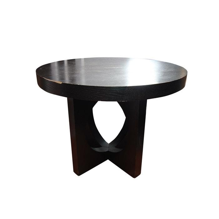 Black Laminate Wood Circular Occassional Table
