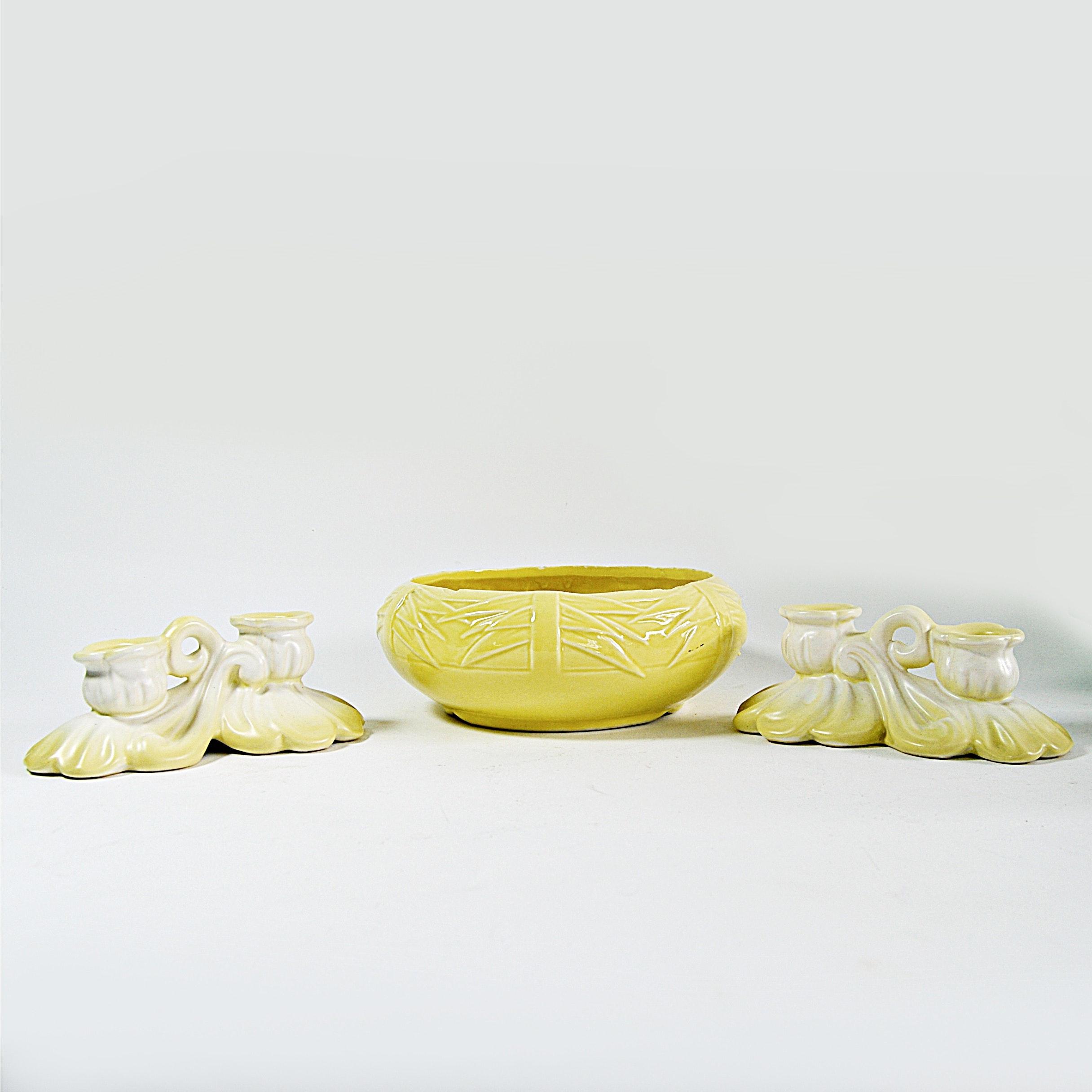 Vintage Weller Pottery Candleholders and McCoy Bowl