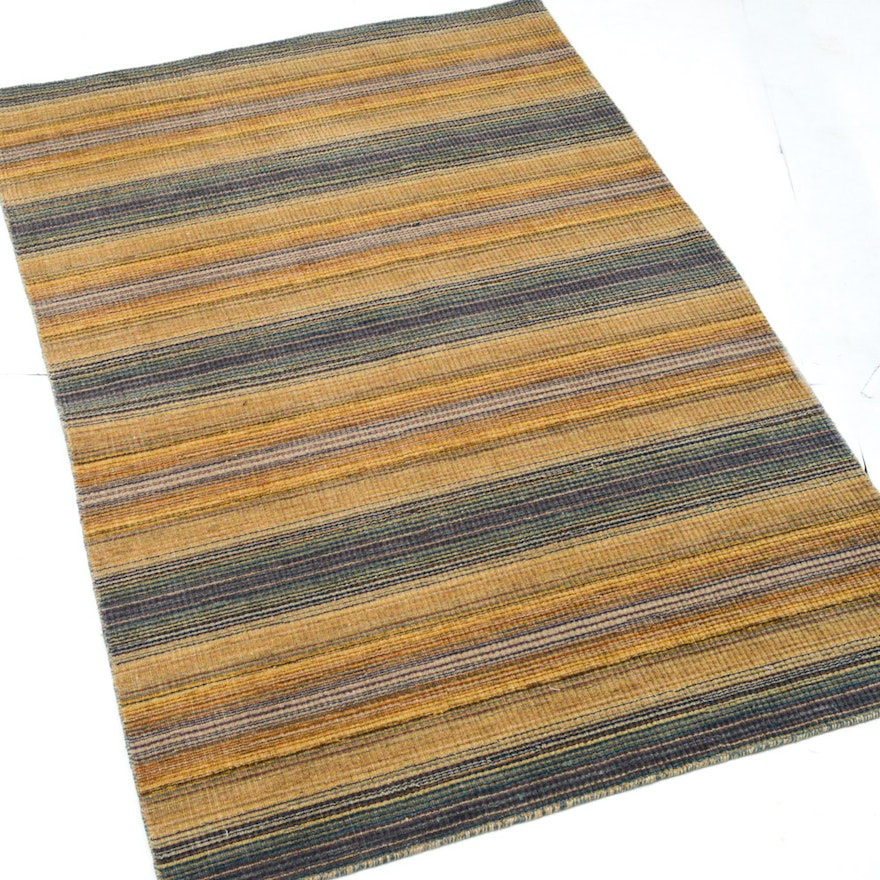 Hand Knotted Indo Persian Obeetee Wool Area Rug Ebth: 4' X 6' Hand-Knotted Indo-Persian Gabbeh Rug