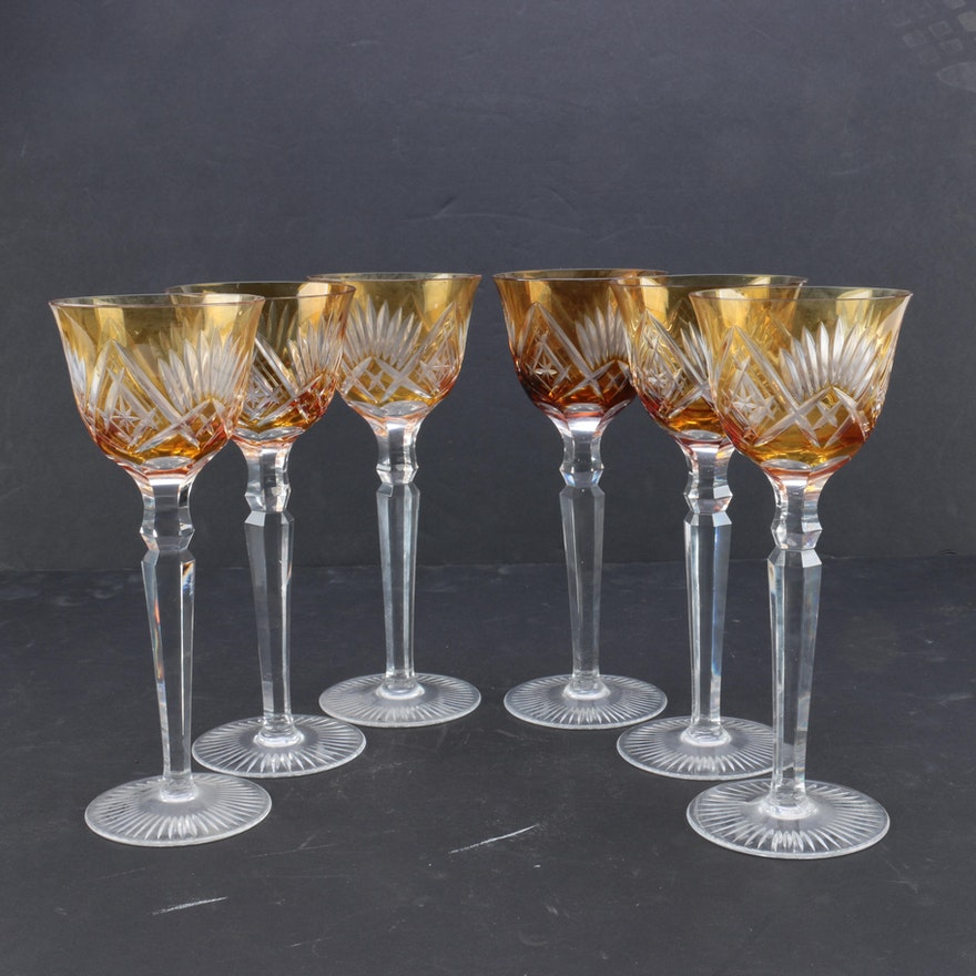 Set Of Amber To Clear Cut Wine Glasses Ebth