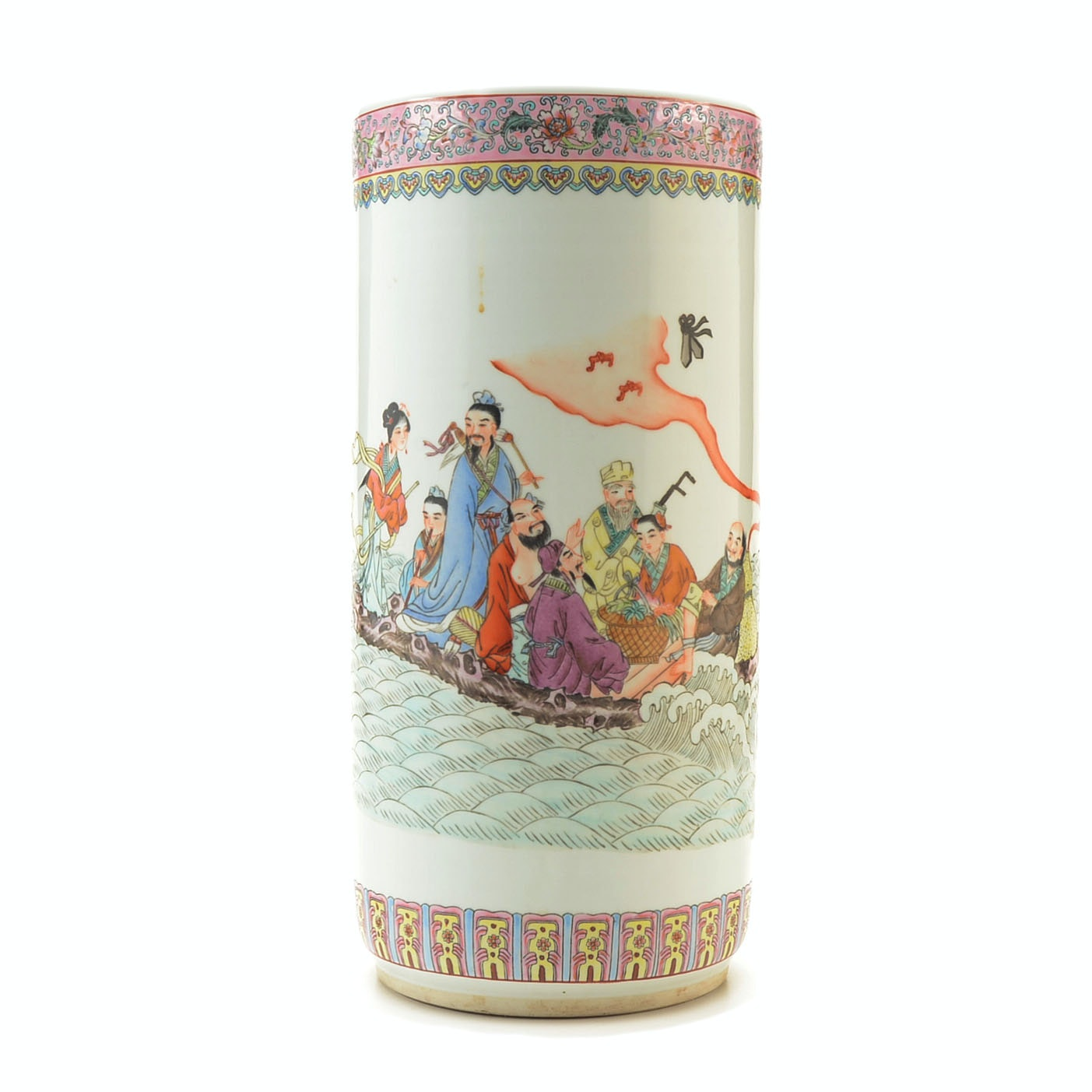 Chinese Porcelain Umbrella Holder with the Daoist Eight Immortals