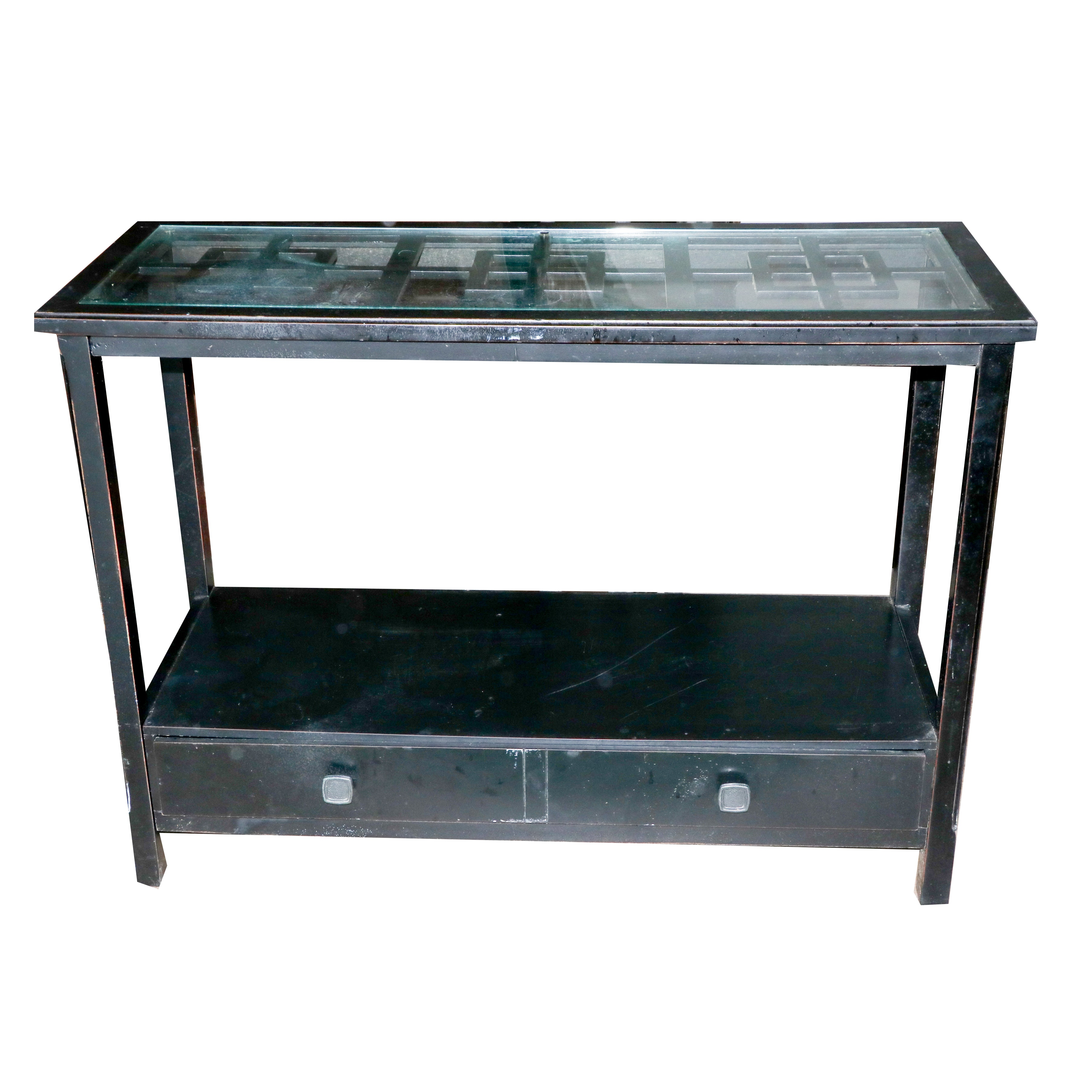 Glass Top Console Table With Drawer by The Bombay Company