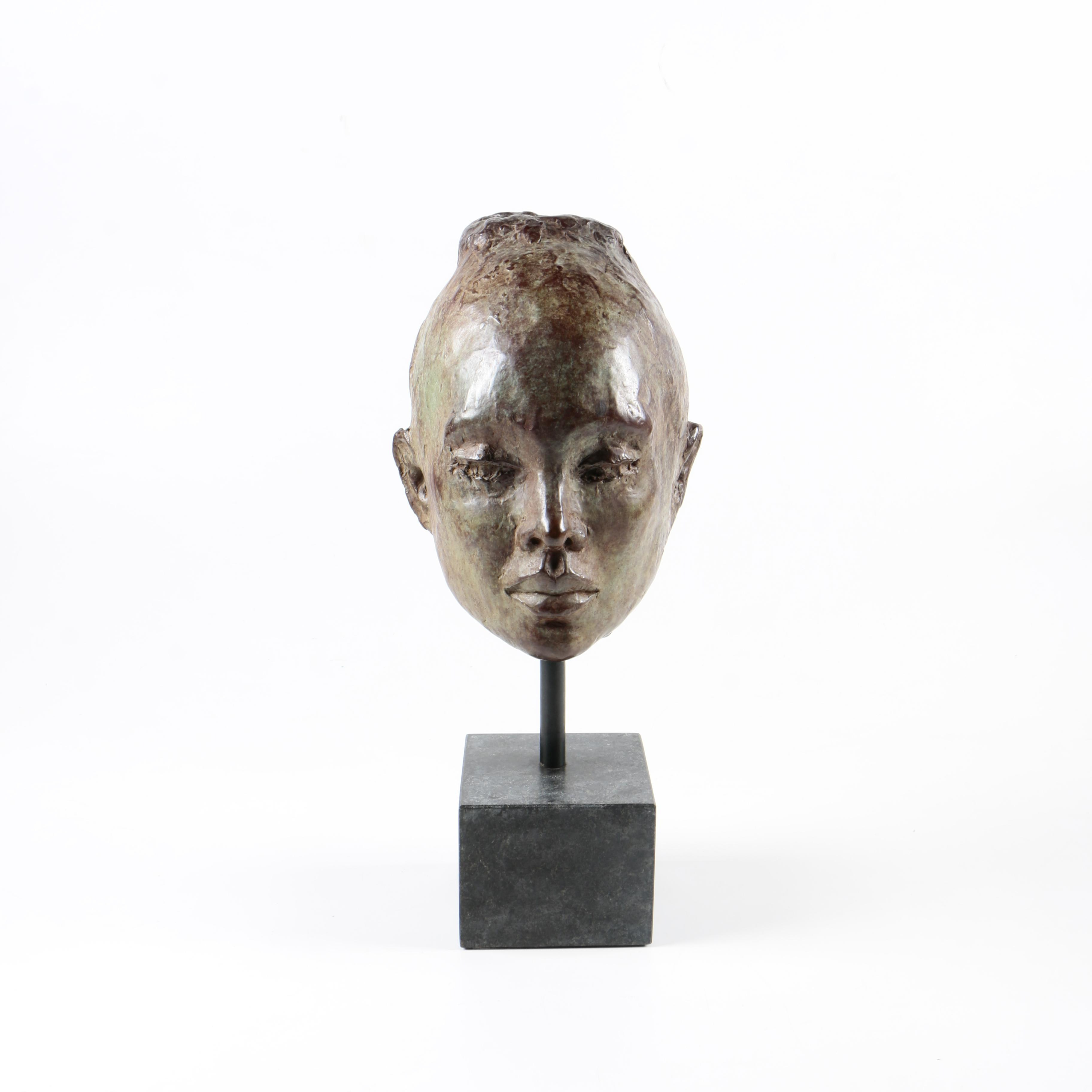 Signed Bronze Sculpture of a Female Head