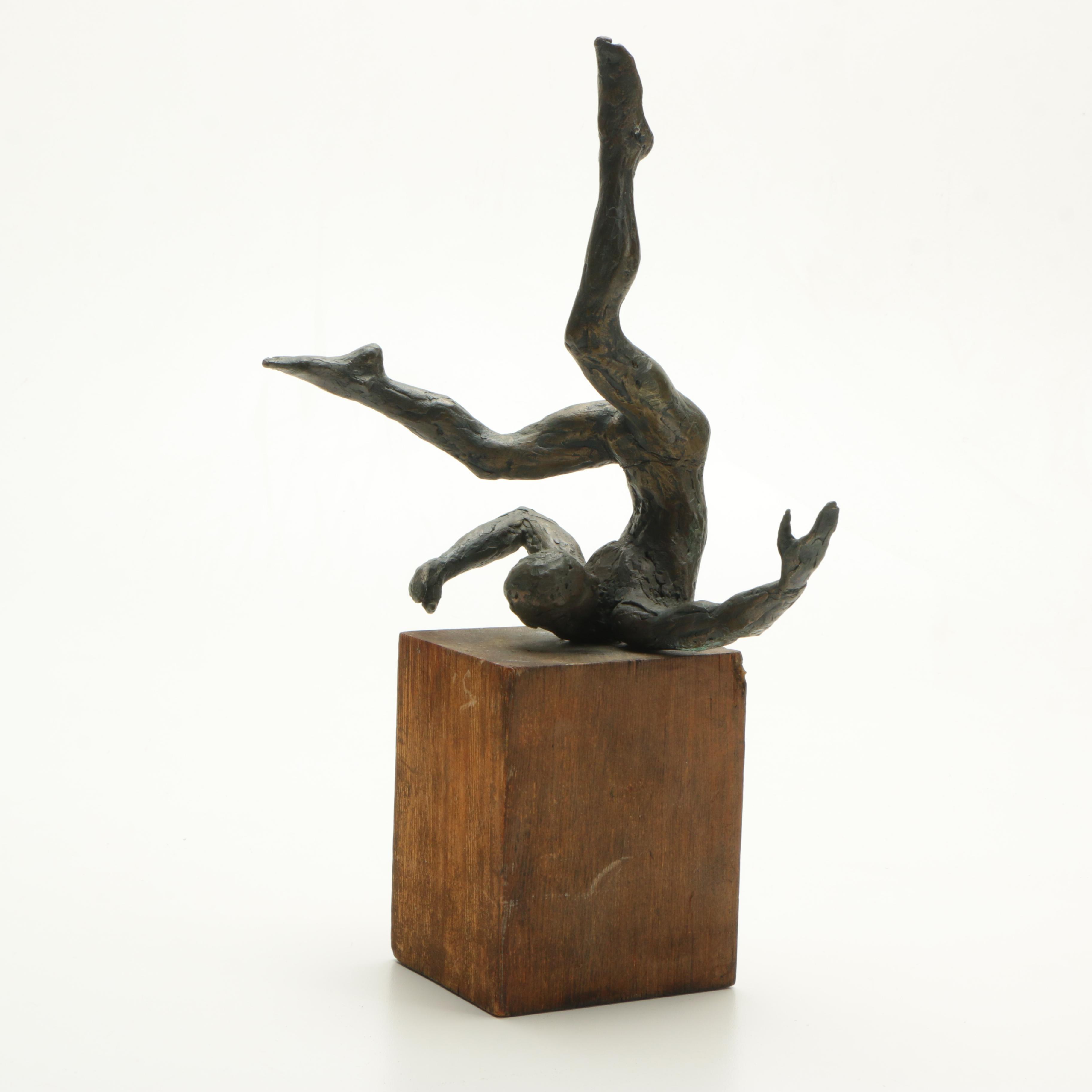 Brass Sculpture of a Falling Man