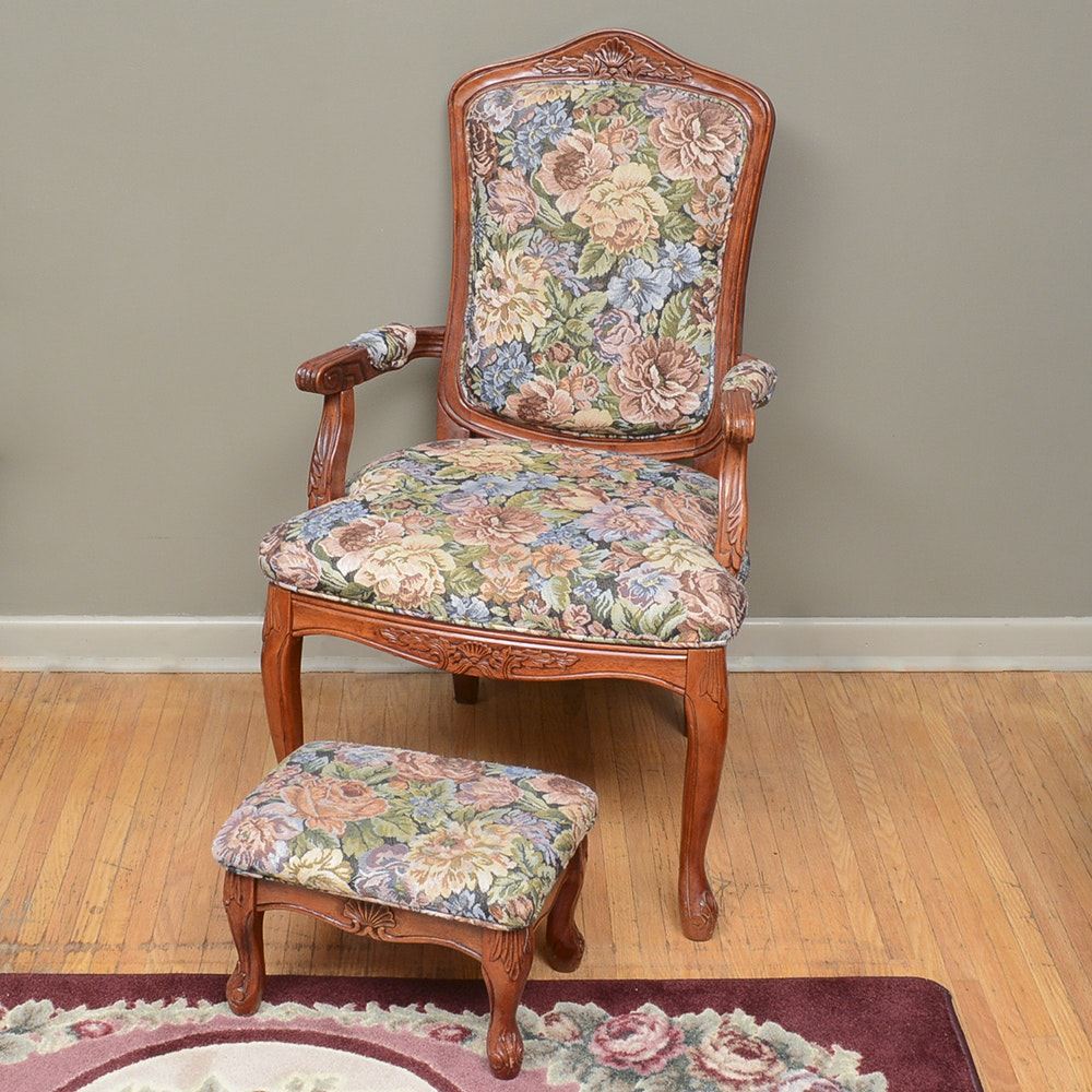 Vintage Queen Anne Style Arm Chair with Ottoman