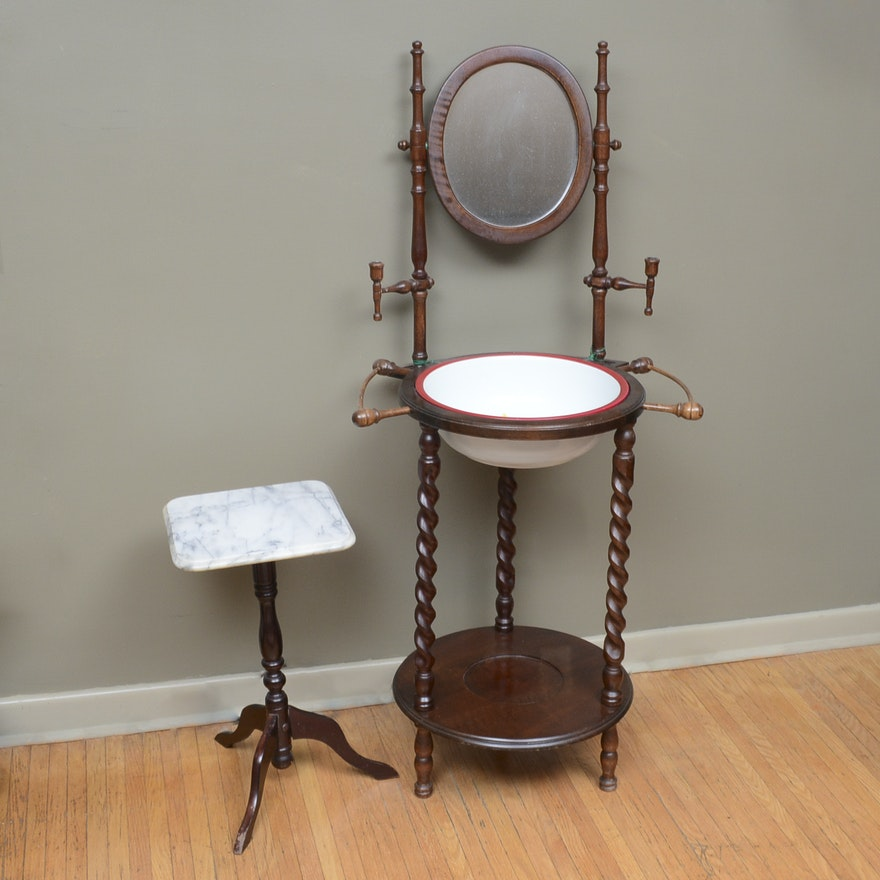 Antique Wash Stand And Marble Top Accent Table