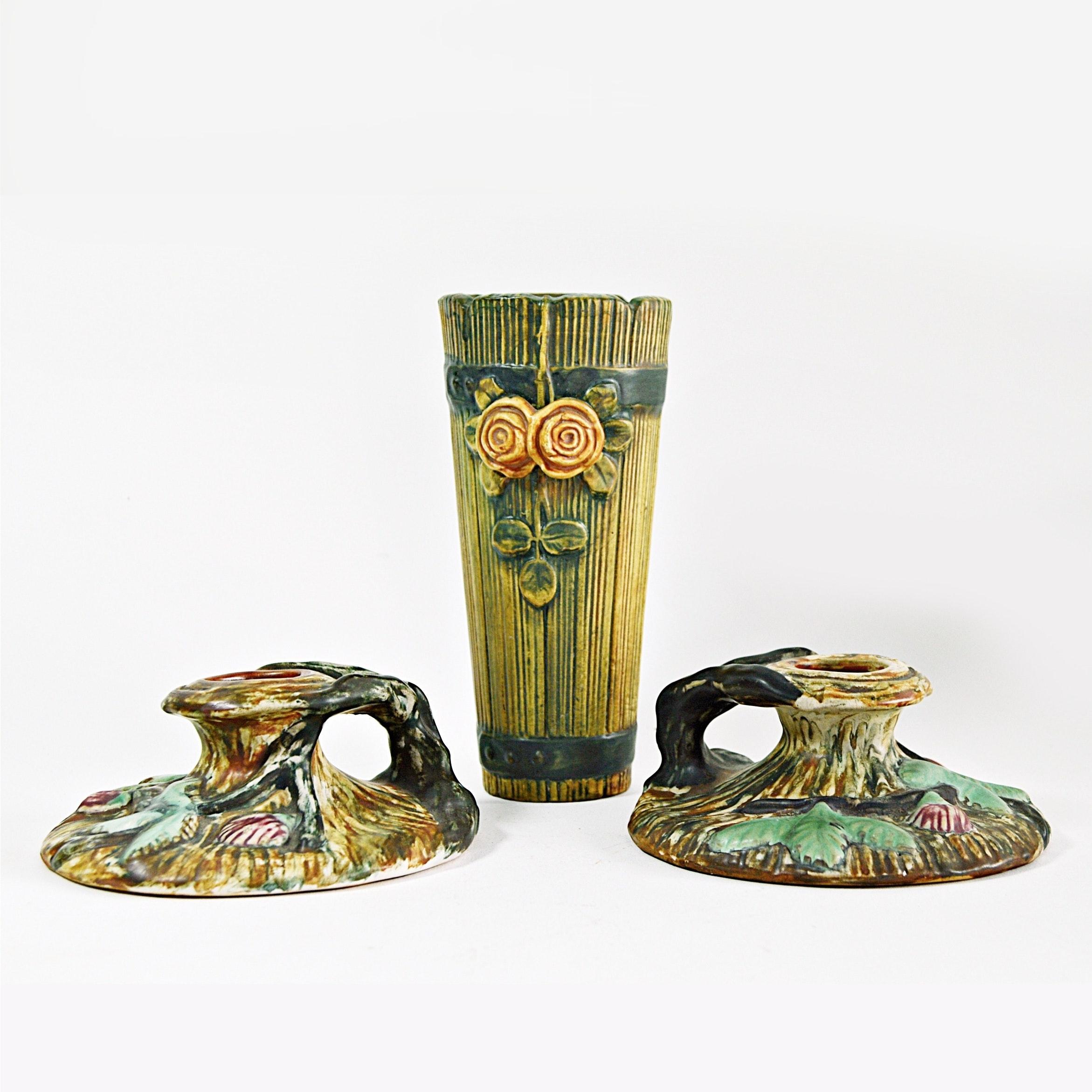 "Vintage Weller ""Warwick"" Candleholders and ""Woodrose"" Wall Vase"