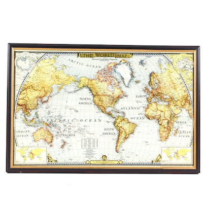 Vintage Maps For Sale Antique Maps For Sale Framed Map Auction - National geographic world maps for sale