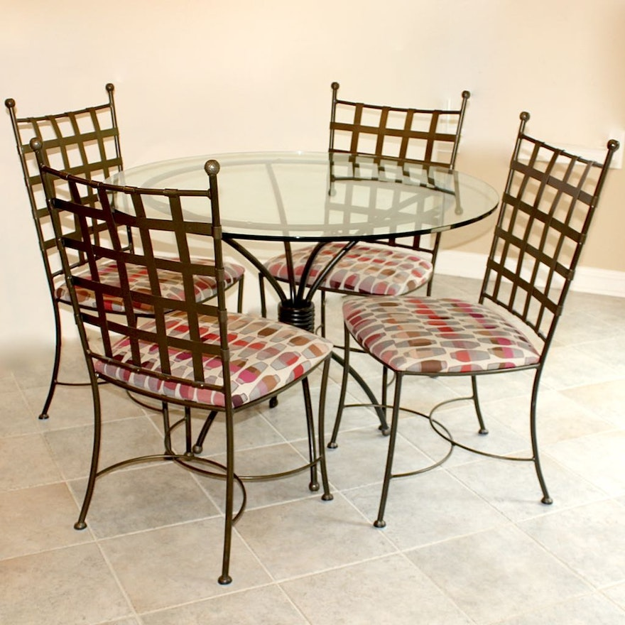 Wrought Iron Dining Table And Chairs: Glass Top Dining Table With Four Wrought Iron Chairs : EBTH