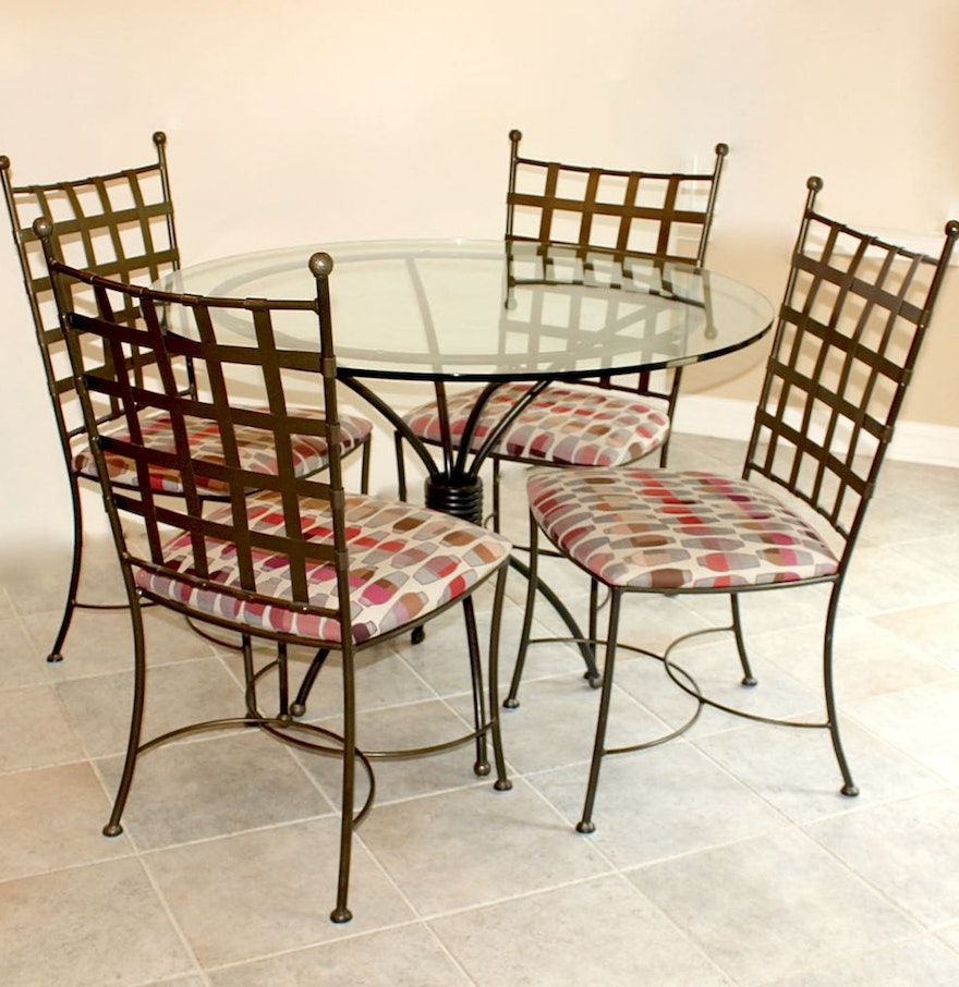 Glass Top Dining Table With Four Wrought Iron Chairs : EBTH