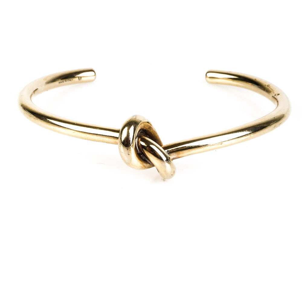 Céline Knot Cuff Bracelet in Brass