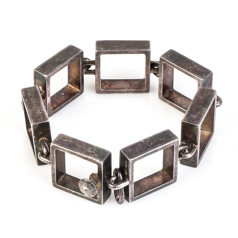 Vintage Hans Hansen Modernist Sterling Silver Square Link Bracelet