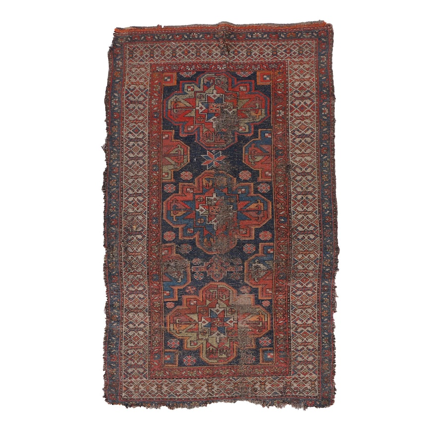 Hand Knotted Persian Wool Area Rug Ebth: Antique Hand-Knotted Persian Kurdish Area Rug : EBTH