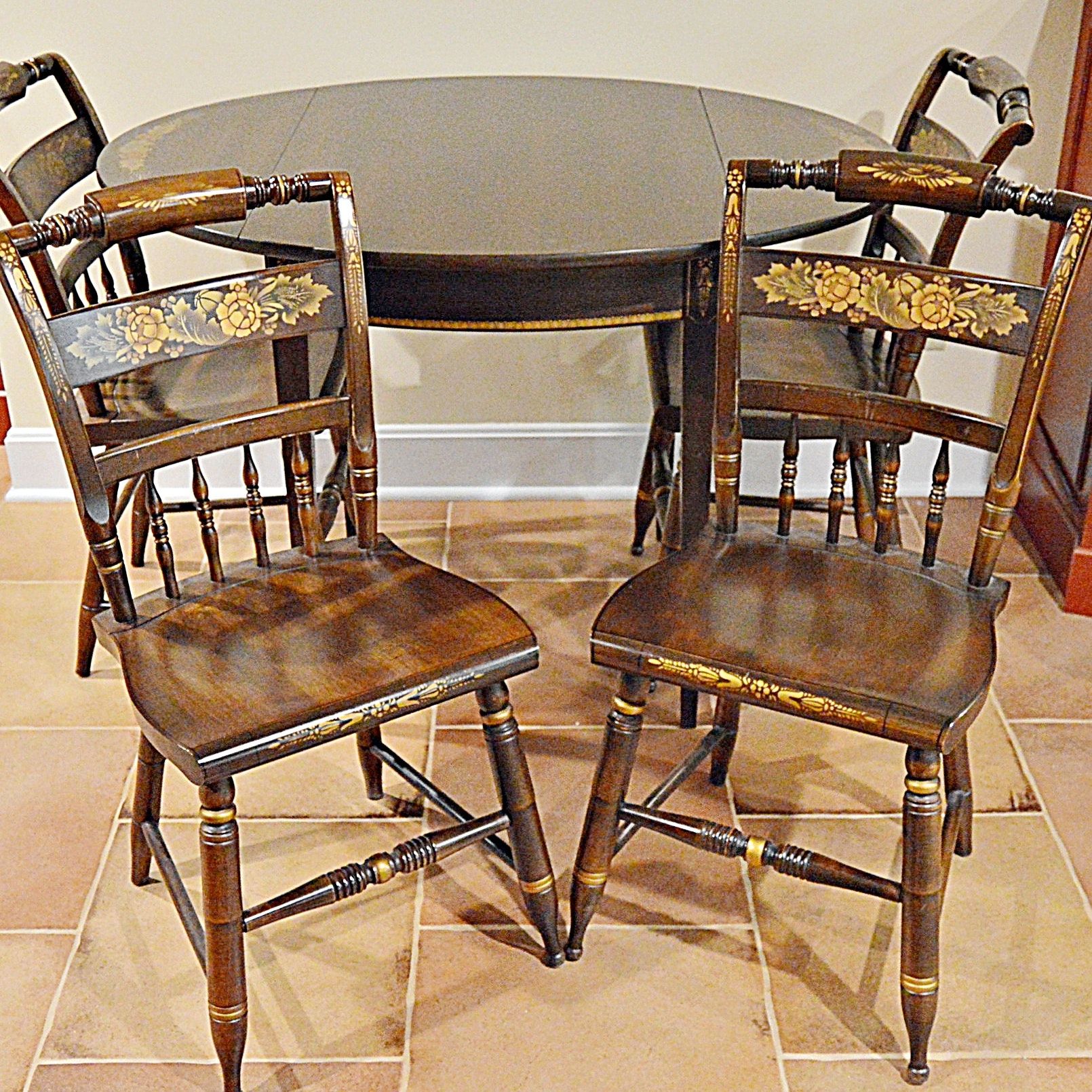 Stencil-Decorated Drop-Leaf Table and Four Side Chairs by L. Hitchcock