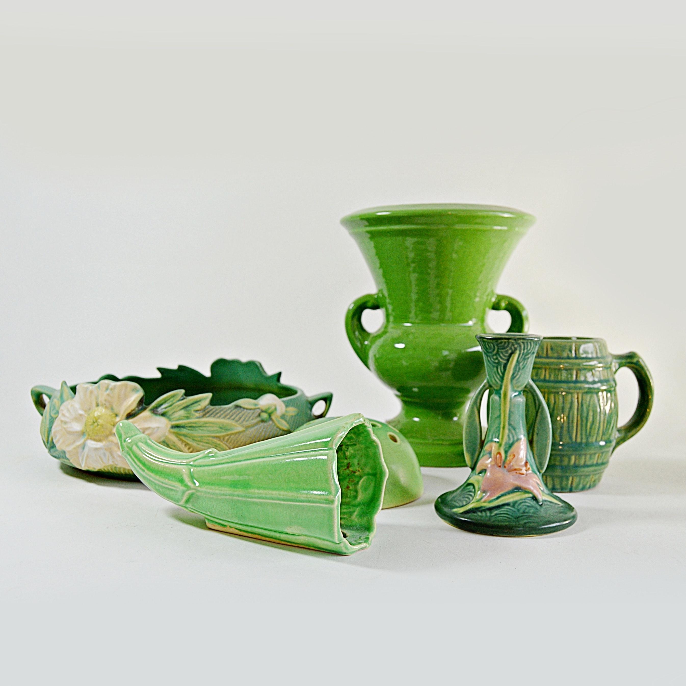Vintage Roseville and Weller Pottery