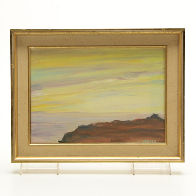 "James Maher Oil Painting of a Landscape ""Pacific Sunset"""