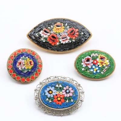 Four Italian Glass Mosaic Brooches