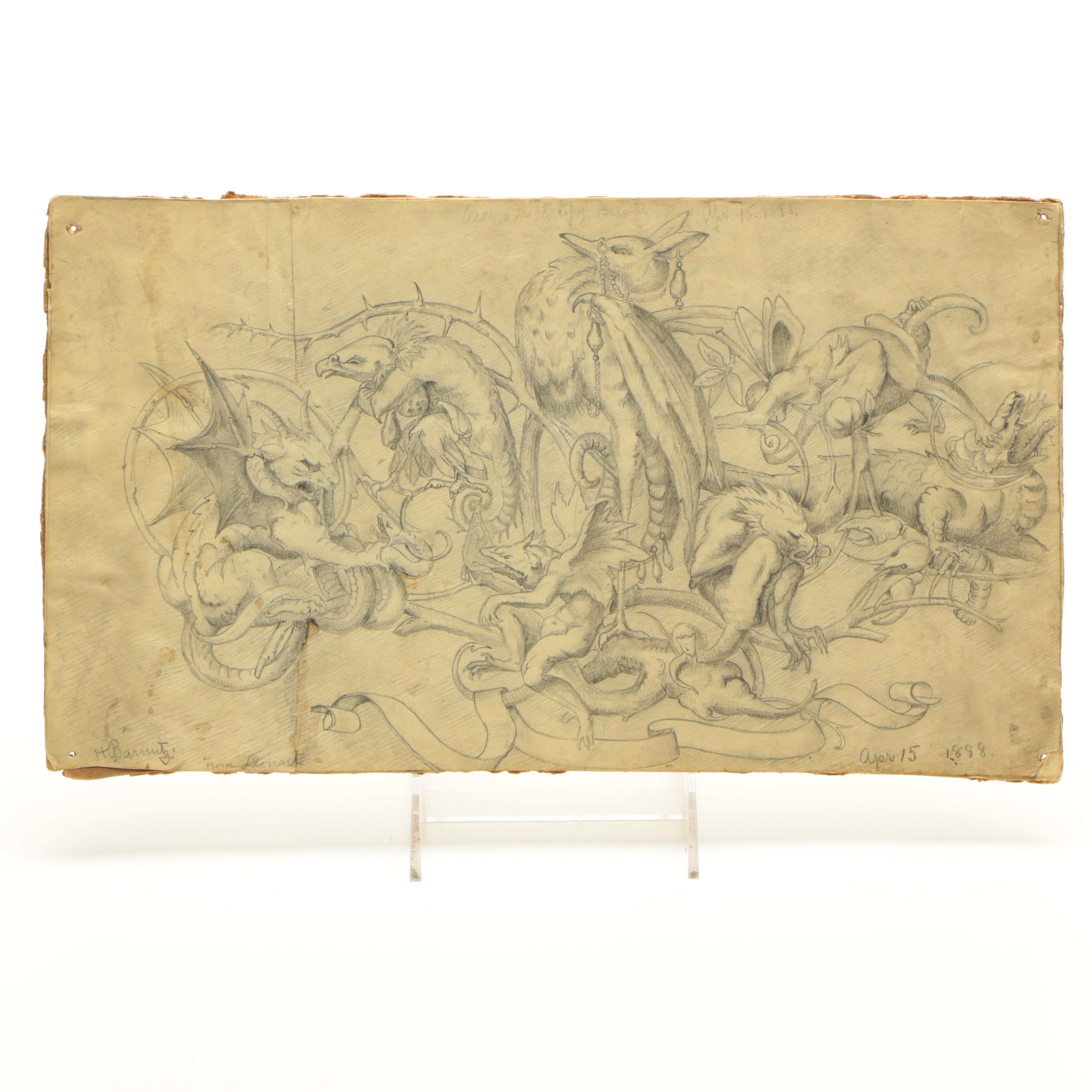 Signed Original 1888 Fantastical Graphite Drawing on Paper of Monsters