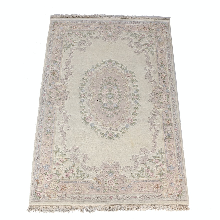 Chinese Carved Fl Wool Area Rug