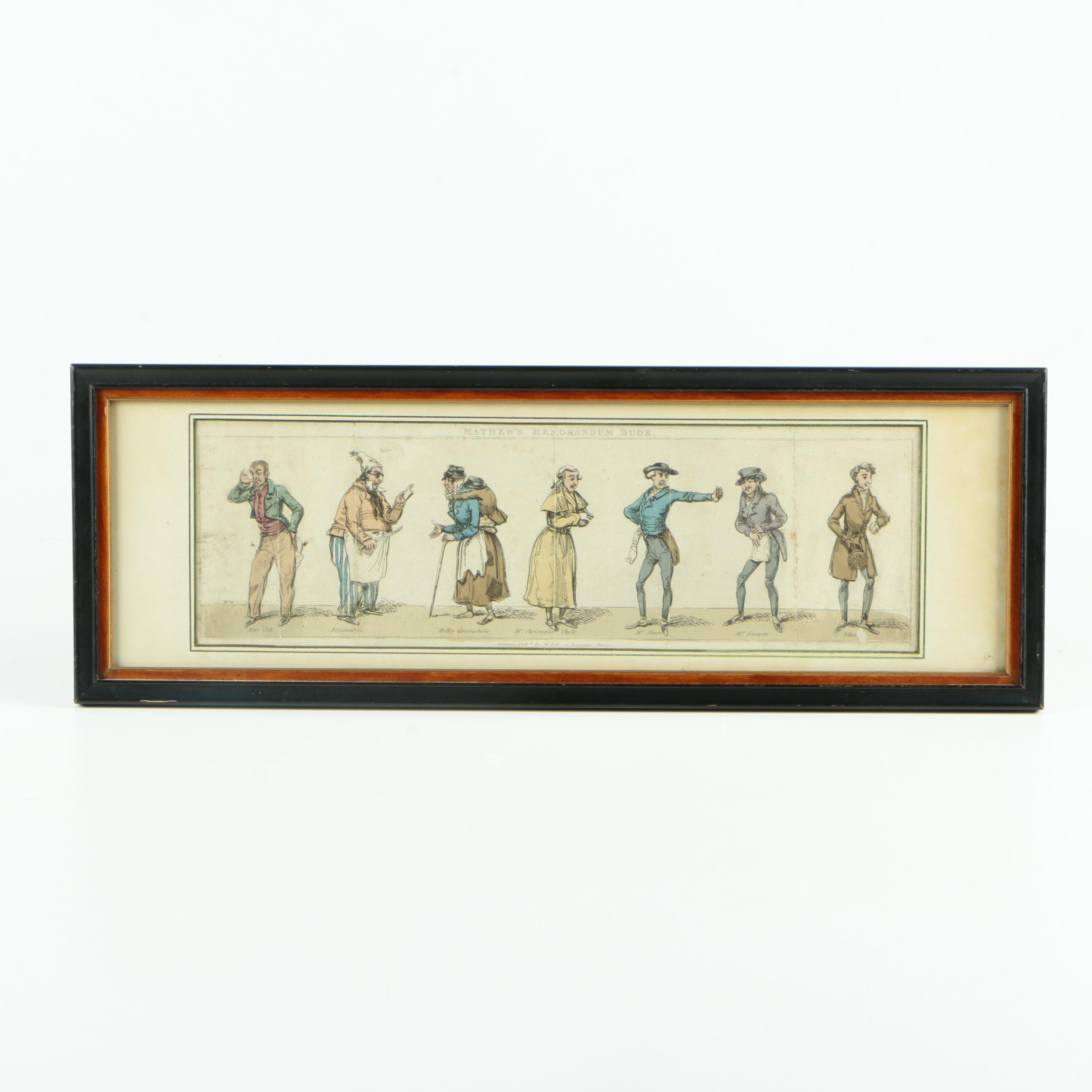 Hand-colored Wood Etching from Mathew's Memorandum Book