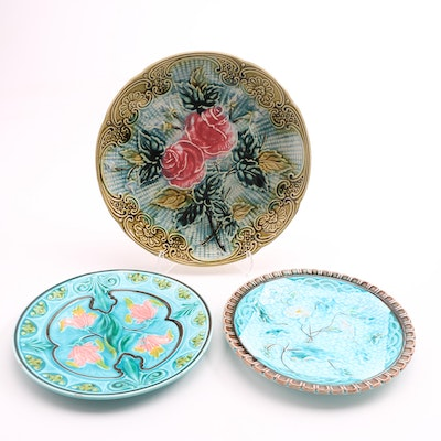 Three 19th-Century Majolica Plates