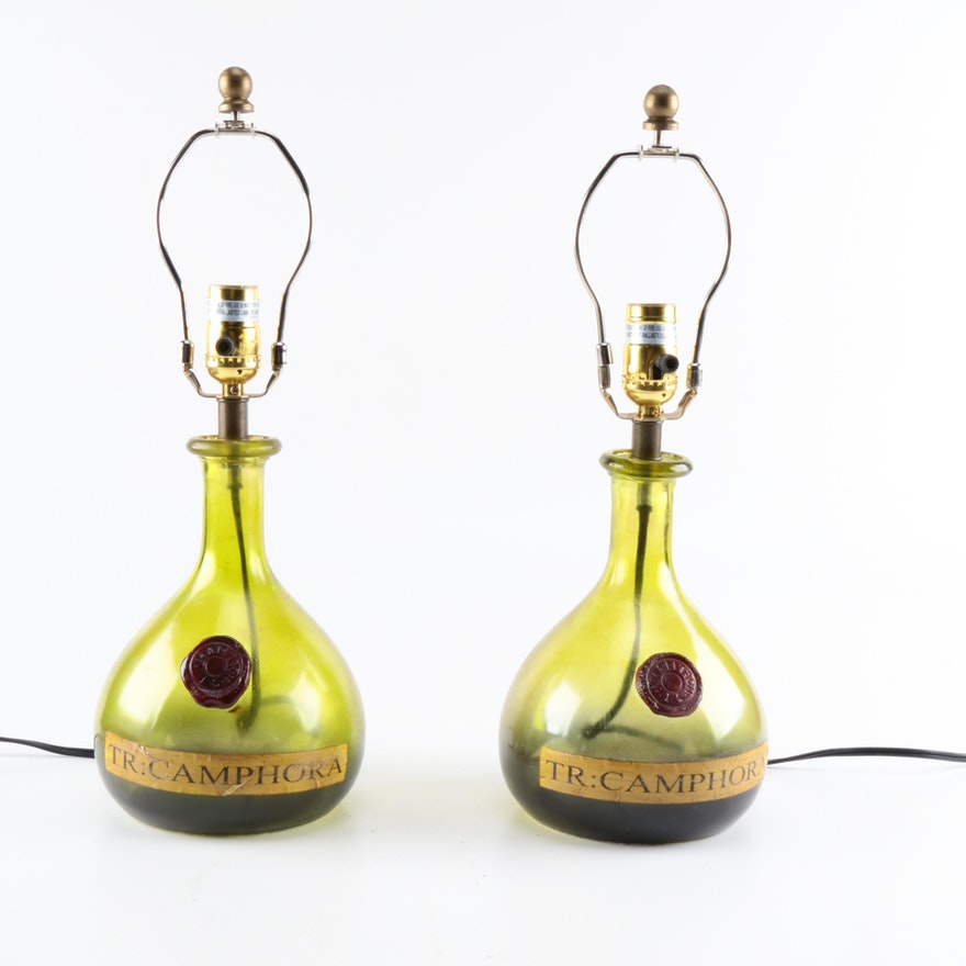 Wine bottle table lamps ebth wine bottle table lamps aloadofball Choice Image