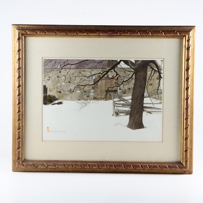 Watercolor and Gouache Painting on Paper of Snow Scene