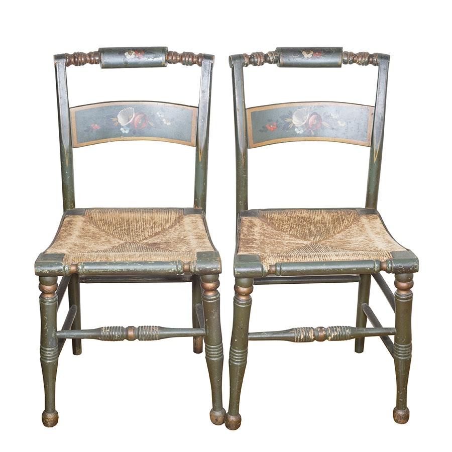 Pair of Vintage Hitchcock Style Chairs