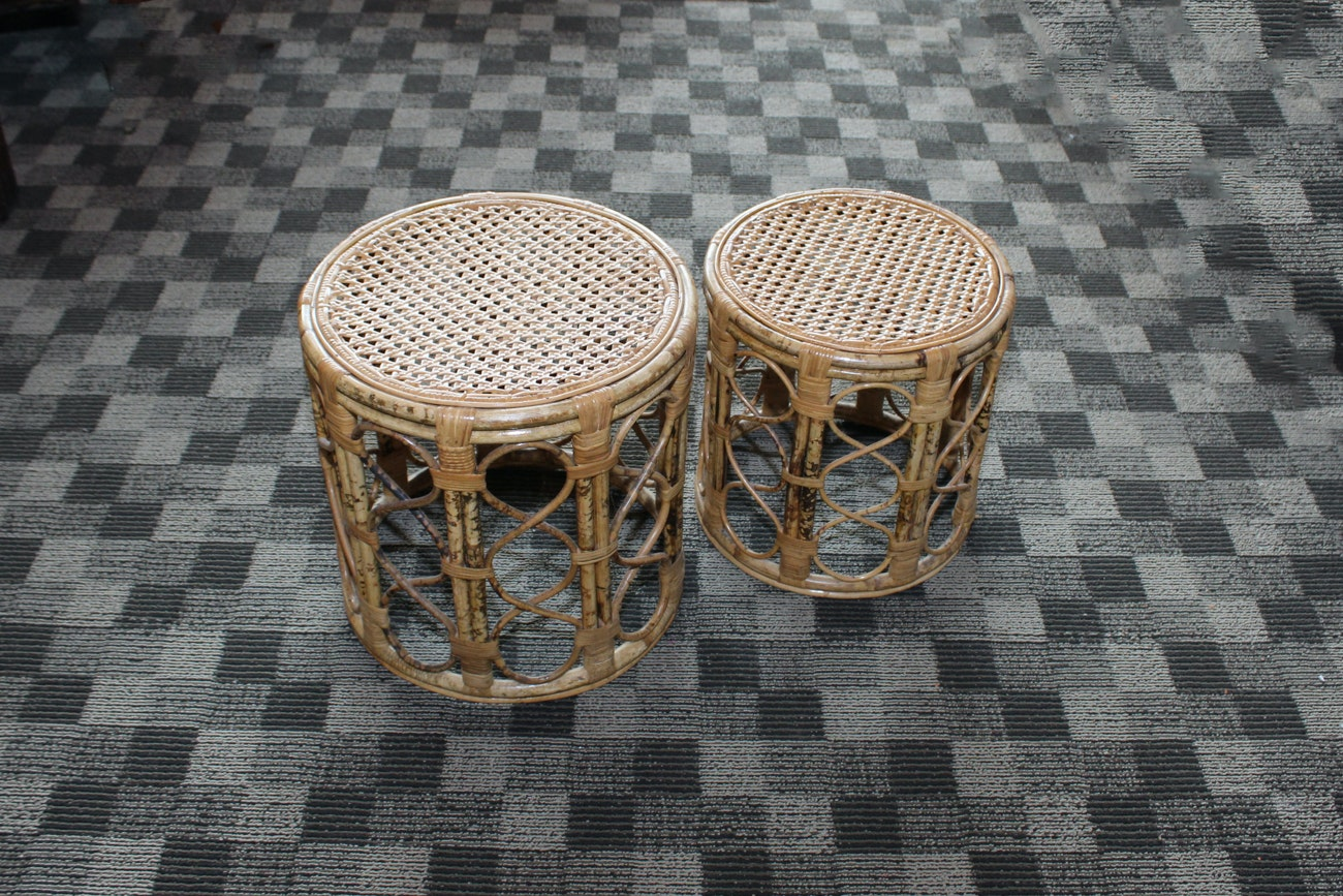 Pair of Rattan and Bamboo Drum Style Side Tables