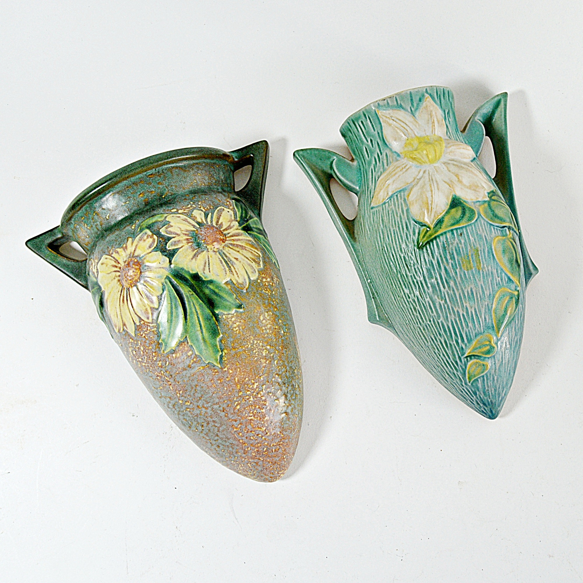 """Vintage Roseville Pottery """"Dahlrose"""" and """"Clematis"""" Wall Pockets"""