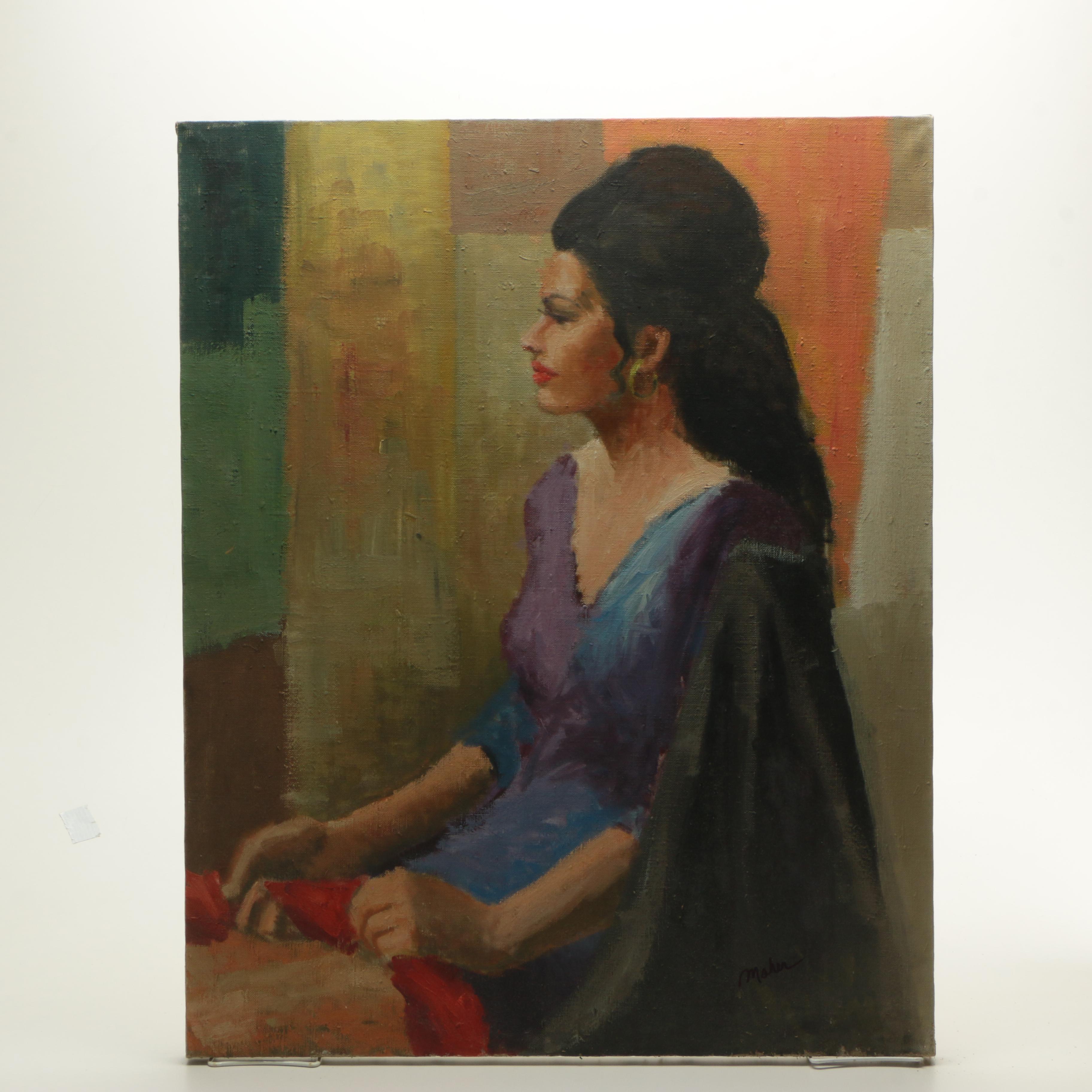 James Maher Oil Portrait of a Woman