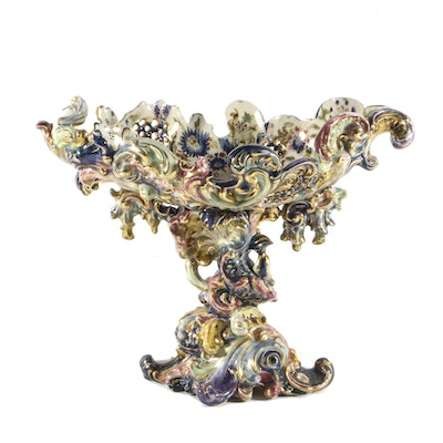 19th-Century Fischer J. Reticulated Centerpiece Bowl