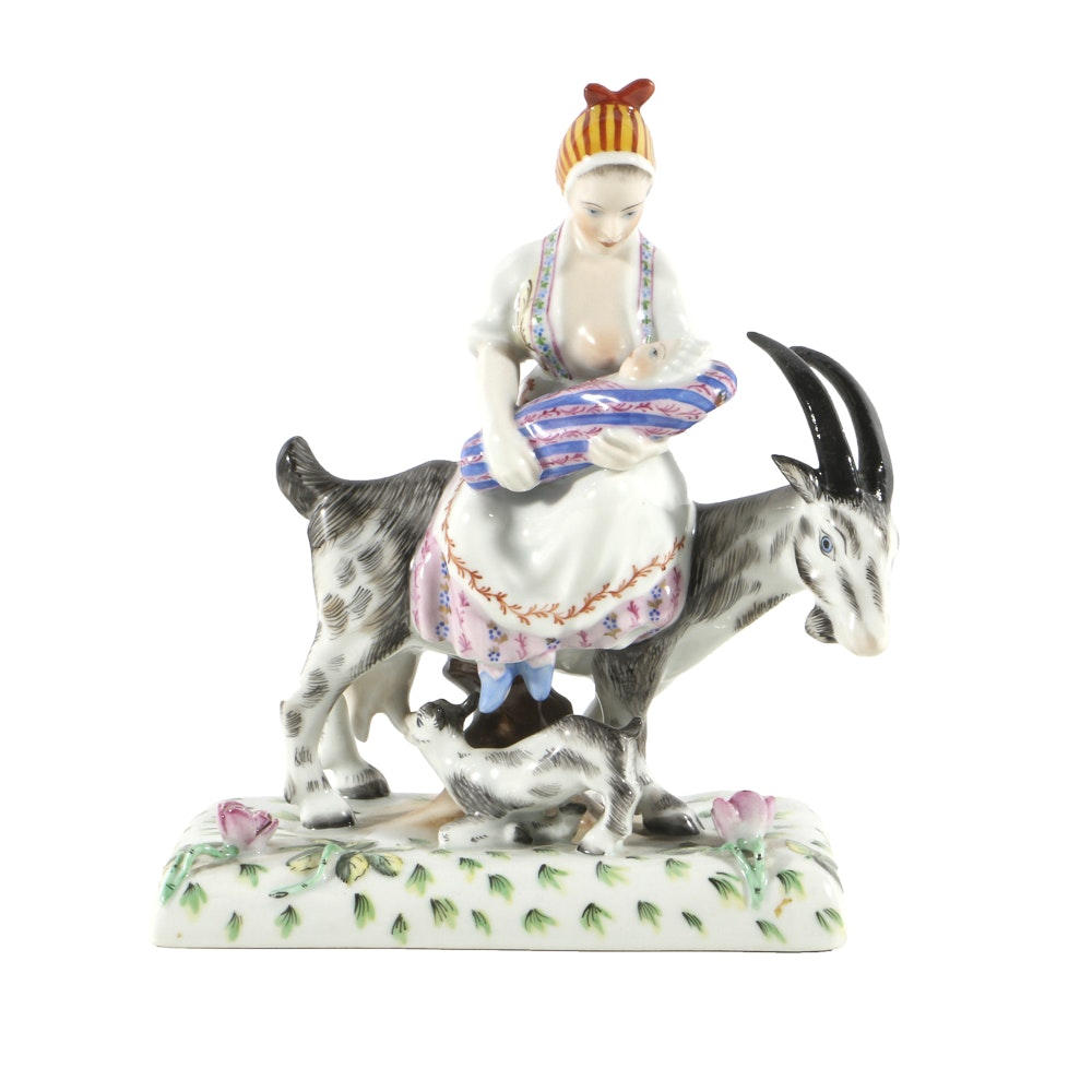 Herend Porcelain Figurine Woman on a Goat Breastfeeding