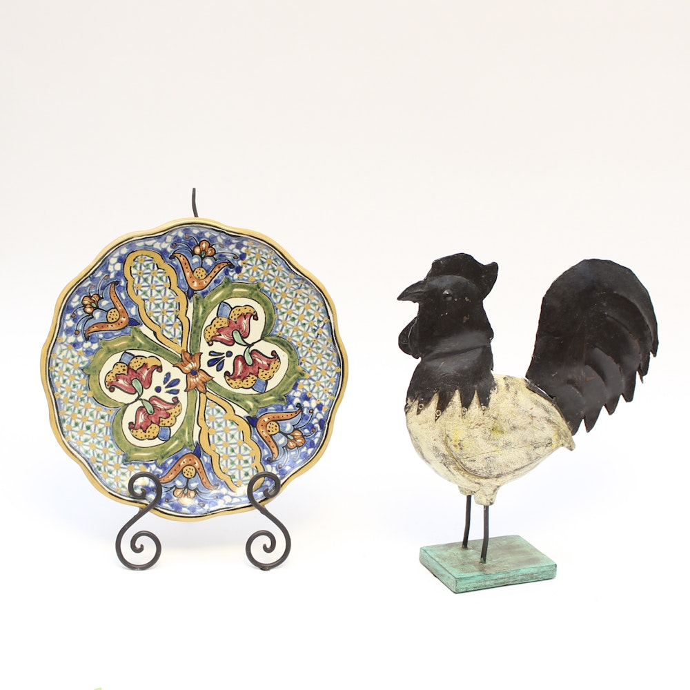 Wood Rooster and Mexican Ceramic Plate