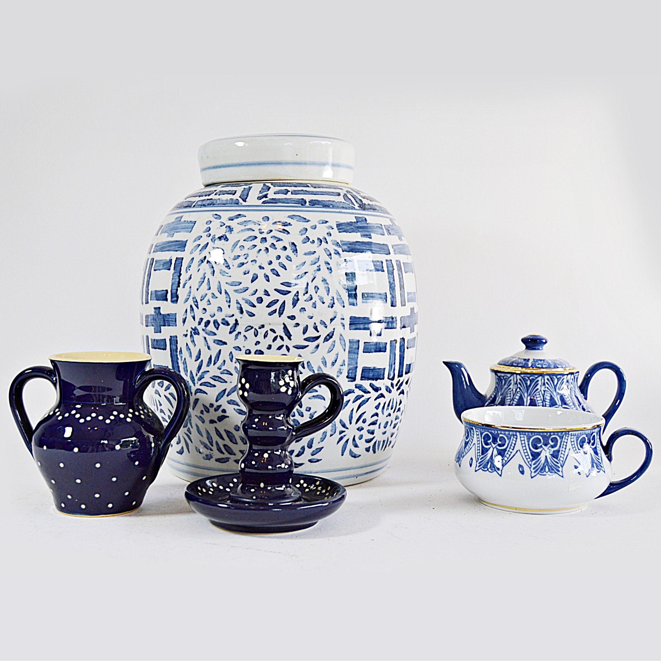 Blue and White German and Chinese Ceramics and Porcelain