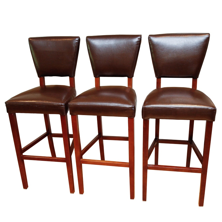 Bonded Leather Bar Stools By Pier 1 Imports Ebth